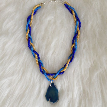 Braided Bead and Agate Necklace - Handmade, Czech Glass Beads, Blue Agate Slice, Braided 3 Strand, Woven, Geode, Stone, Native American