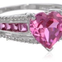 10k White Gold Created Pink Sapphire Heart with Diamond Accent Ring
