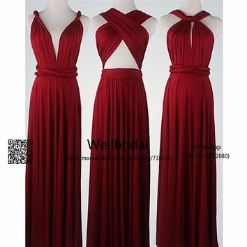 Burgundy 2017 New Bridesmaid Dresses Long with More Design Draped Chiffon wedding Party dress Formal Bridesmaid Dress