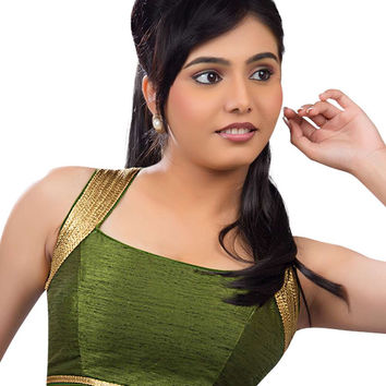Exquisite Mehendi Green Silk Party-Wear Sari Blouse SNT-X-257-NS