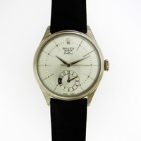 Rolex Cellini Dual Time 39mm Mens Watch WHITE GOLD 50529 Silver Dial Ret: $19400