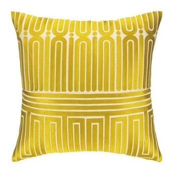 Garden Maze Citron Yellow Pillow
