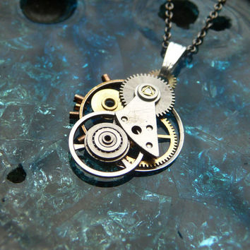 "Clockwork Pendant ""Guardian"" Intricate Mechanical Watch Gear Necklace Wearable Art Sculpture Steampunk Pendant A Mechanical Mind OOAK"
