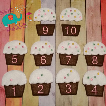 Counting cupcake game, educational, learning, game, toy, matching, embroidered, activity, quiet game, montessori, homeschool, busy book