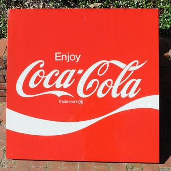 """Vintage Coca Cola Red Metal Sign Man Cave Wall Decor 36"""" x 36"""" Allen Morrison Advertising Sign"""