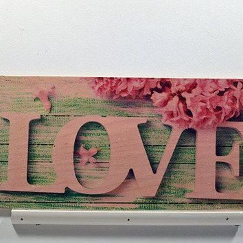 Wooden Wall Sign 10x5 - C014 - Love with flower blue background