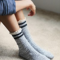 Free People Rugby Ruffle Ankle Sock