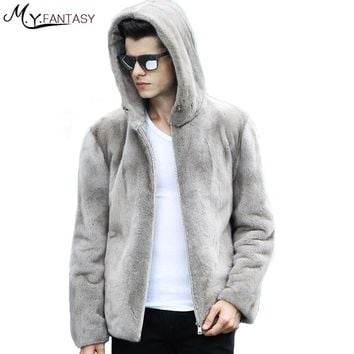 M.Y.FANSTY 2017 Winter Stand Collar Long Sleeve Mink Coat Zipper Pure Grey Real Fur Jacket Warm Cool Man With Hat Mink Coats