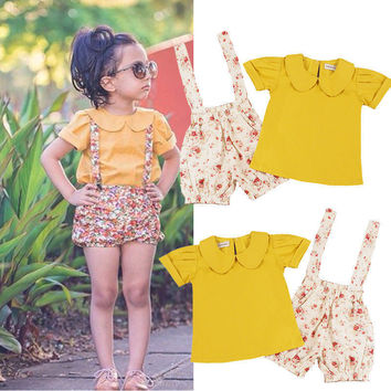 2pcs Bib Pants + T-shirt Tops  Girl Clothing Toddler Kids Baby Girls Clothing Flower Strap Shorts Outfits 2PCS Set 2016