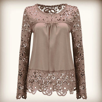 Autumn Plus Size Women Chiffon Shirt Blouse Sexy Hollow Lace Women Shirt Long Sleeved Shirt Fashion Casual Women Tops
