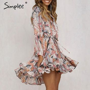 Simplee Elegant floral print women short shirt dress V neck long sleeve ruffle chiffon vestidos Spring casual plus size sundress
