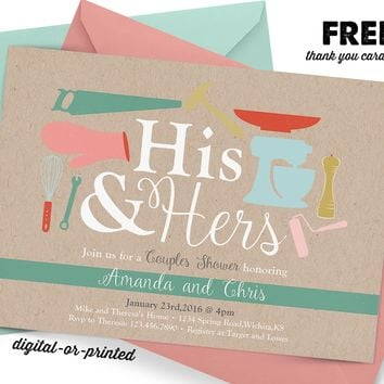 His and Hers Bridal Couples Shower Invitation