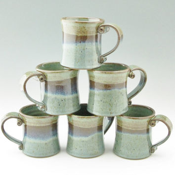 Handmade Pottery Coffee Mug Singles, Sturdy Stoneware 12 oz Crescent Style Tea Mug for Home or Office, Sage and Blue Mist Cup