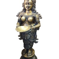Antique Brass Deepa Lakshmi Statue Goddess Lakshmi Carrying Lamp Altar Decor 51""