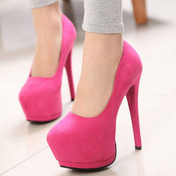 Fashion Round Toe Closed Stiletto High Heel Red PU Pumps
