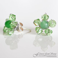 Stud Silver Earring Aventurine Gem Stone with Swarovski Crystal Bead Handmade by Flower GemStone