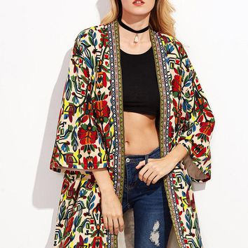 Tribal Printed Embroidered Jacket