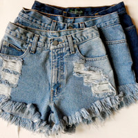 Distressed High Waisted Denim Shorts- Custom Made