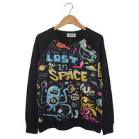 Black Long Sleeve LOST SPACE Print Sweatshirt