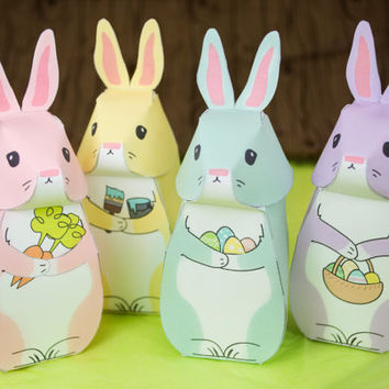 DIY Printable Easter Bunny Gift Boxes, Easter Party Favor Boxes, Spring Celebrations