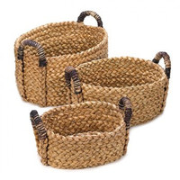 Straw Nesting Baskets With Handles