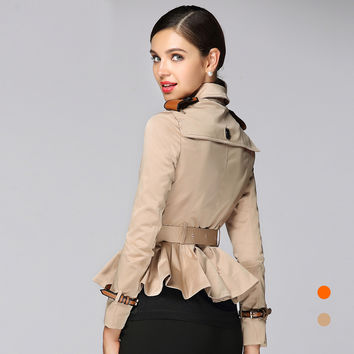 B Famous Brand Women Short Trench Coats Women 2017 Elegant Slim Double Breasted Ruffles Cotton Outfits