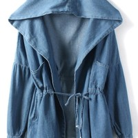Drawstring Waist Hooded Denim Jacket - OASAP.com