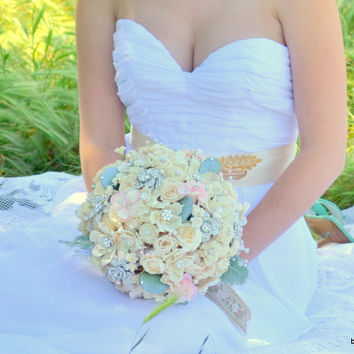 Mint and soft blush jeweled wood and preserved rose brooch bouquet -- made-to-order wedding bouquet