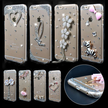 Bling Crystal Rhinestone Diamond Clear Hard Case Cover For iPhone 7/ Plus/ 6s/ 6