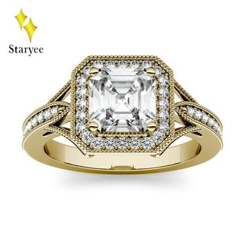 Test Positive 14k Solid Yellow Gold 1.3ct Asscher Cut Moissanite Diamond Rings Simulated Halo Ring For Women Engagement Wedding