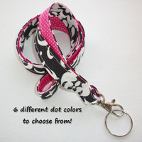 Lanyard  ID Badge Holder - Lobster clasp and key ring - design your own - black white damask polka dots - two toned double sided