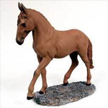 CHESTNUT HORSE WALKING & TROTTING FIGURINE