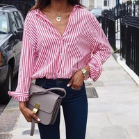 AVODOVAMA M  2018 Long Sleeve Office Ladies Casual Blouses Striped Blouse Women Sexy Turn Down Collar Shirts Plus Size