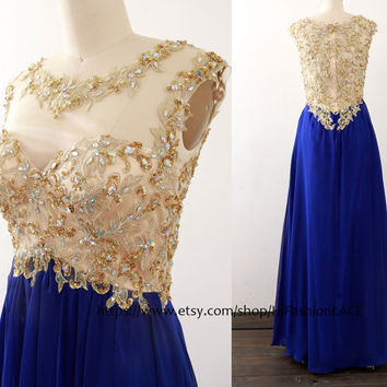 Long Prom Dress, Straps Chiffon Lace Prom Gown,  Gold Lace Royal Blue Formal Gown, Lace Chiffon Formal Dress Wedding Party Dresses