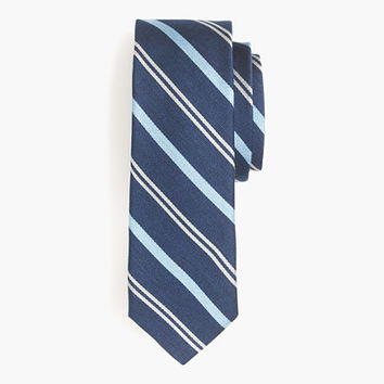 J.Crew Mens English Silk Tie In Navy Multistripe