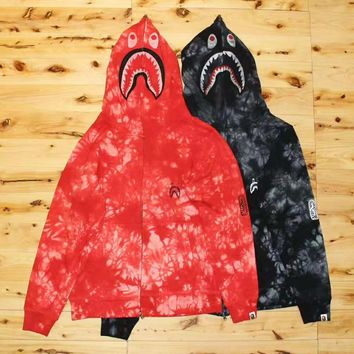 Bape Aape Autumn And Winter High Quality New Fashion Shark Print Camouflage Women Men Hooded Long Sleeve Sweater Coat