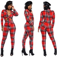 Women Fashion Plaid Cut Out Long Sleeve Sexy Jumpsuit