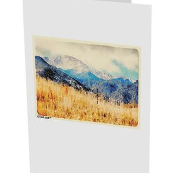 "Pikes Peak Mountains Watercolor 10 Pack of 5x7"" Side Fold Blank Greeting Cards by TooLoud"