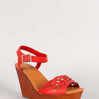 Bamboo Leatherette Cut Out Faux Wood Open Toe Platform Wedge Size: 10, Color: Red