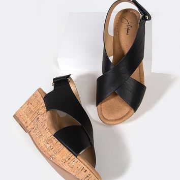 Cross Band Wedge Heel
