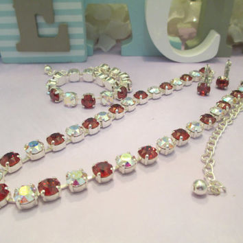 swarovski crystal designer inspired necklace in red and aurora borealis stones #280.