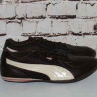 90s puma Sneakers US 8 Leather Brown Pink White Trainers Hipster FestIval Hip Hop Club Kid Pastel Goth Cyber Goth