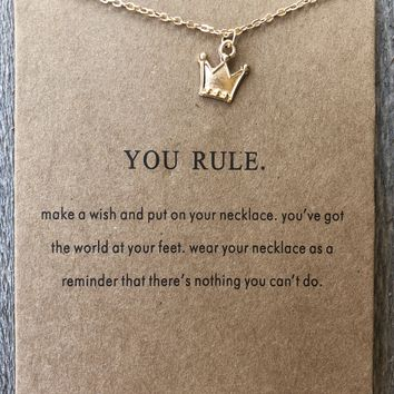 """You Rule"" Gold Crown Necklace"