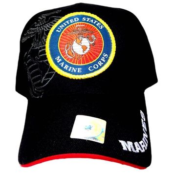 U.S. Marines New Black Ball cap with logo & tags