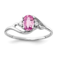 14k White Gold 6x4mm Oval Genuine Pink Sapphire And AA Diamond Ring