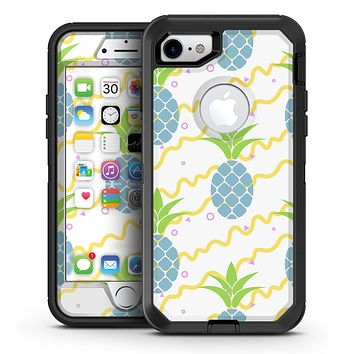 Retro Blue Pineapples - iPhone 7 or 7 Plus OtterBox Defender Case Skin Decal Kit