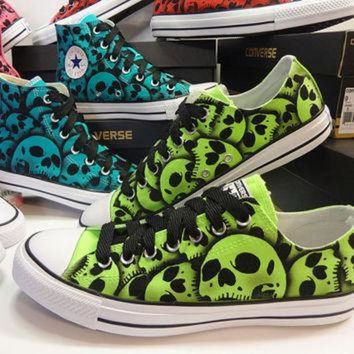 DCCKHD9 RokGear Skull design - Converse Skull shoes Unique hand panted skulls by RokGear Green