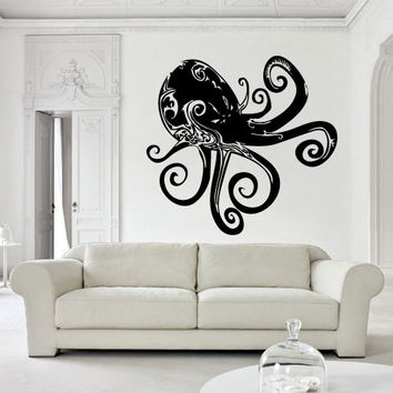 Wall decal decor decals sticker art design vinyl octopus clever tentacles fish jellyfish deep sea ocean animals bedroom  (m1120)