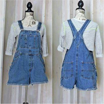 Womens Overalls Shorts / size S / 90s grunge / Old Navy denim bib shortalls overalls / medium wash  jean overall shorts
