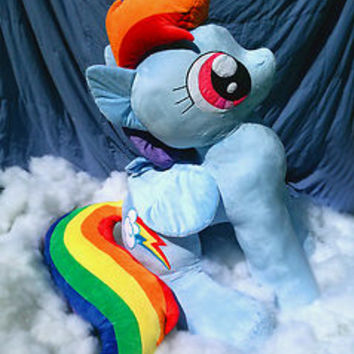 Giant Life-Sized Rainbow Dash Plushie.  Over 4 Feet Tall!  My Little Pony fanart